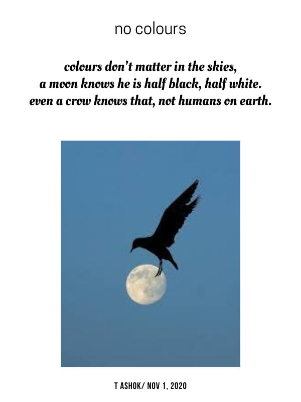 Colours don't matter in the skies A moon knows he is half black, half white Even a crow knows that, not humans on earth